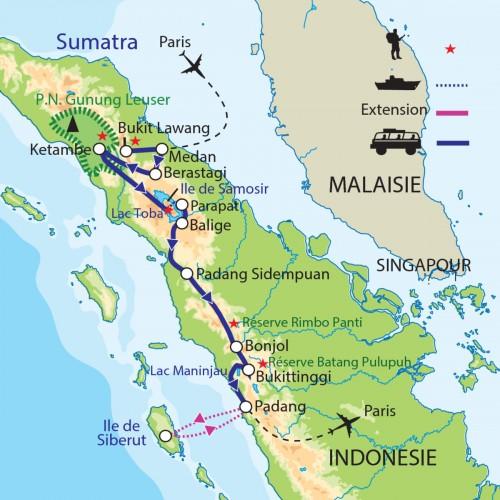 Carte : Indonésie - Sumatra : Parc Gunung Leuser, pays Minang