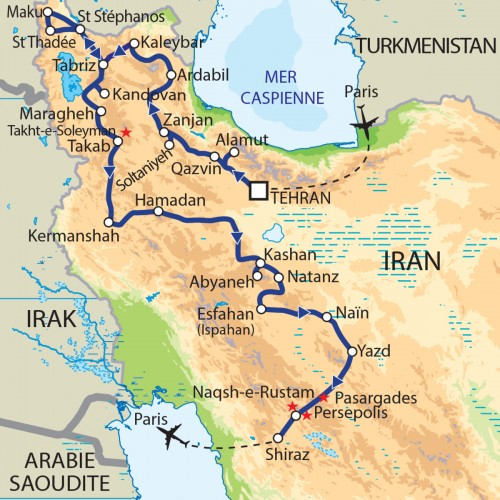 Carte : Iran - La Perse d'hier et l'Iran d'aujourd'hui