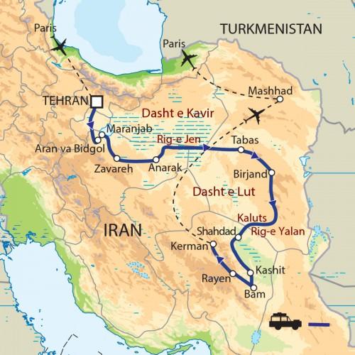 Carte : Iran - Expédition dans les déserts d'Iran