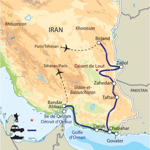 Carte : Iran - Sistan et Baloutchistan jusqu'au détroit d'Ormuz - de Birjand à l'île de Qeshm