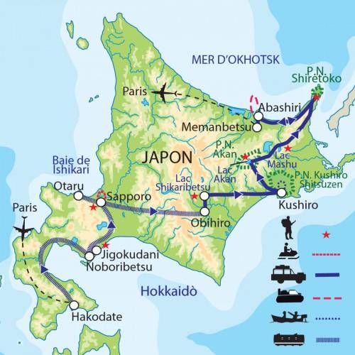 Carte : Japon - Hokkaido : plaisirs de l'hiver nippon