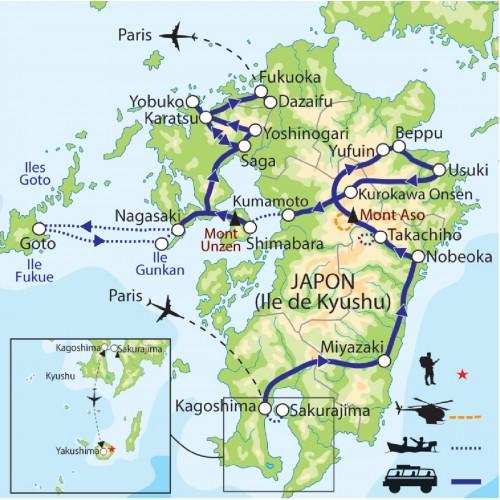 Carte : Japon - Kyushu, la mer et le feu