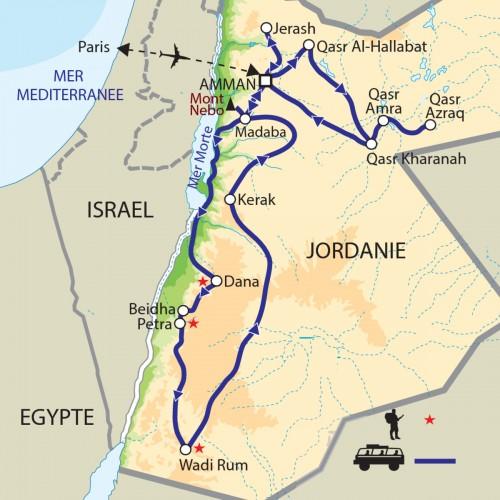 Carte : Jordanie - L'Arabie Pétrée