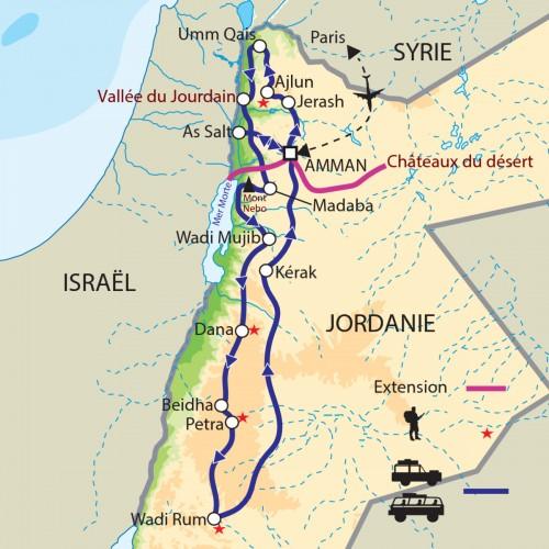 Carte : Jordanie - Exploration en Jordanie