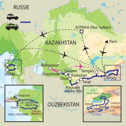 Carte : Kazakhstan - Quelques merveilles au milieu de l'immensité