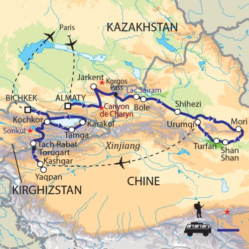 Carte : Kazakhstan Chine Kirghizstan - Pistes caravanières sur la Route de la Soie