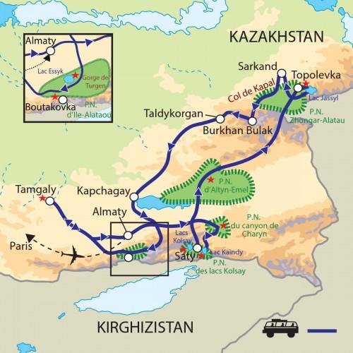 Carte : Kazakhstan - Parc nationaux de la région d'Almaty