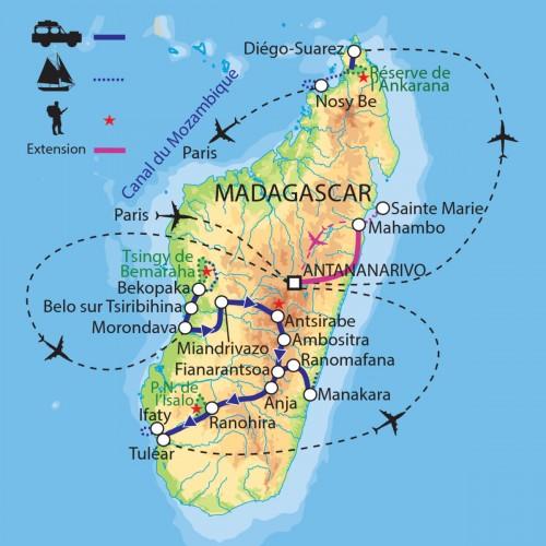 Carte : Madagascar - Grande traversée de Madagascar