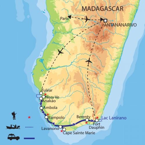 Carte : Madagascar - Chemins d'exploration dans le grand sud