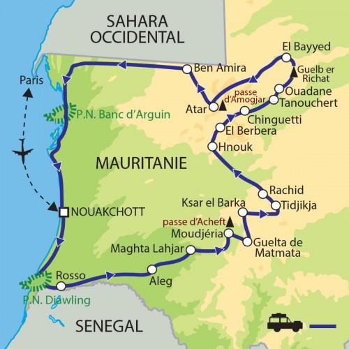 Carte : Mauritanie - de l'Océan aux dunes