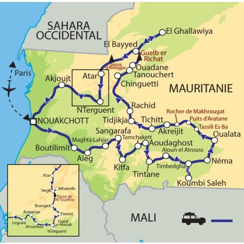 Carte : Mauritanie - Expédition du Hodh à l'Adrar