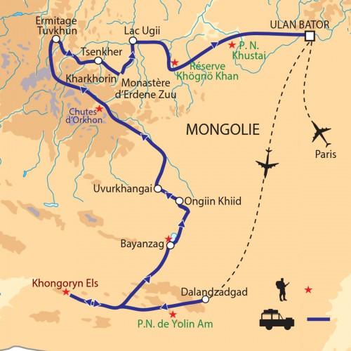 Carte : Mongolie - Désert de Gobi, montagnes et steppes