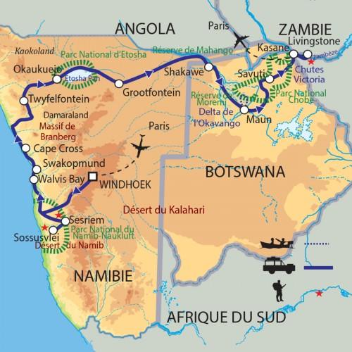 Carte : Namibie Botswana Zimbabwe - Légendes africaines