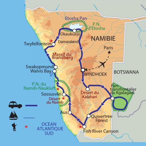 Carte : Namibie - Du Kalahari à Etosha