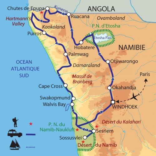 Carte : Namibie - Expédition dans les régions reculées de Namibie