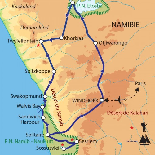 Carte : Namibie - Dunes, faune et océan