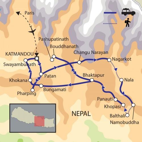 Carte : Népal - La Vallée de Katmandou