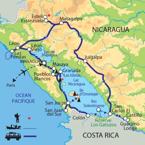 Carte : Nicaragua - Pays des volcans et des lacs