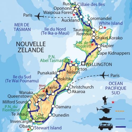 Carte : Nouvelle-Zélande - Exploration au long cours