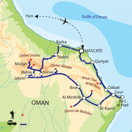 Carte : Oman - Déserts et jardins