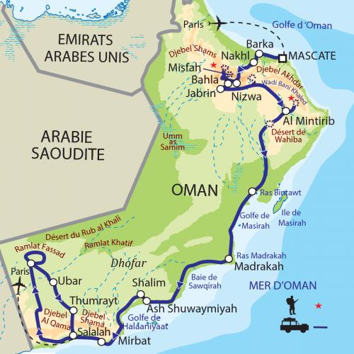 Carte : Oman - De la mer d'Oman aux montagnes du Dhofar