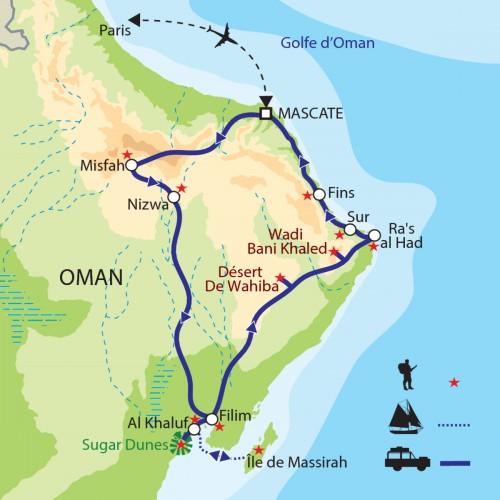 Carte : Oman - Le Nord-Est : désert, ports, villes anciennes, île et wadis