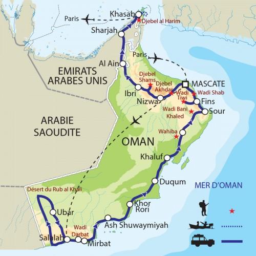 Carte : Oman - Grande traversée du Sultanat d'Oman : de la mer d'Arabie au détroit d'Ormuz