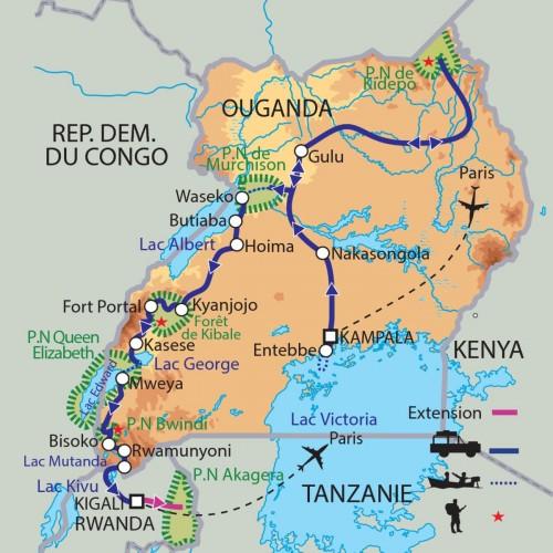 Carte : Ouganda - L'Afrique des Grands Lacs