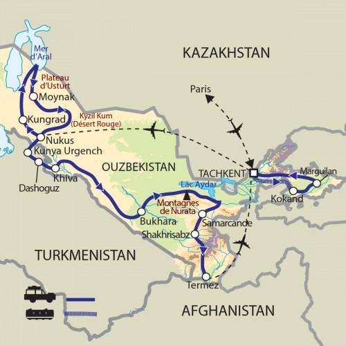 Carte : Ouzbékistan - Terre de Tamerlan, Route de la soie