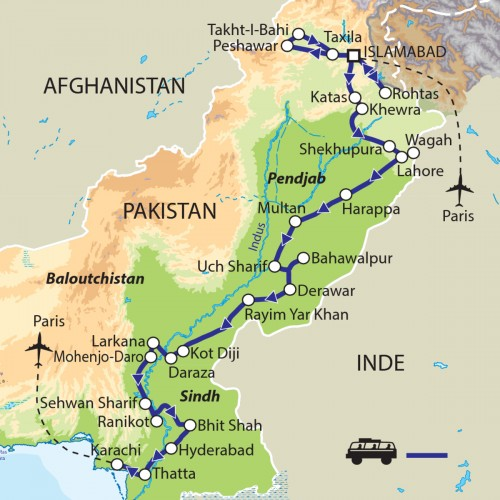 Carte : Pakistan - De la civilisation de l'Indus au Pakistan