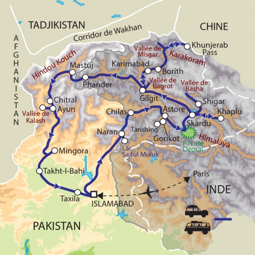 Carte : Pakistan - Vallées de l'Hindou Kouch et du Karakorum