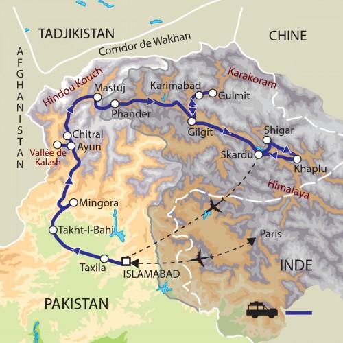 Carte : Pakistan - Rives de l'Indus et Karakorum