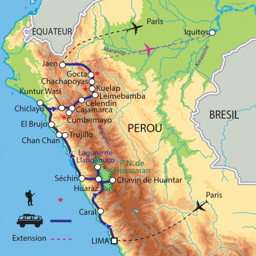 Carte : Pérou - Sur les traces des civilisations pré-incas