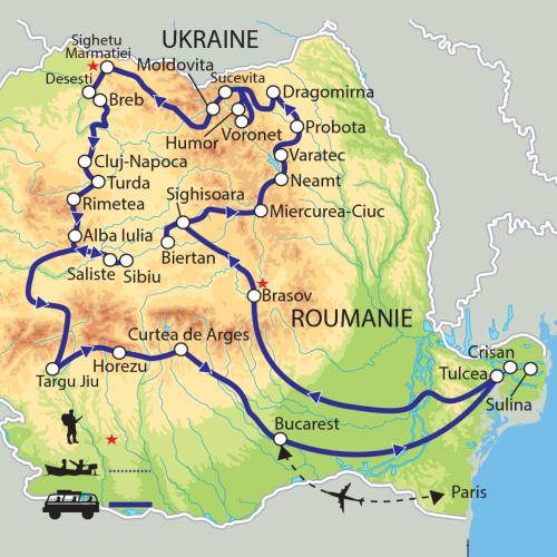 Carte : Roumanie - Du Delta du Danube à la Bucovine