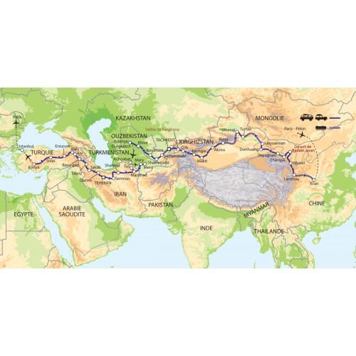 Carte : Chine - Kirghizstan - Ouzbékistan - Turkménistan - Iran - Turquie  - De Xian à Istanbul sur la Route de la Soie