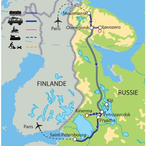 Carte : Russie - Voyage de reconnaissance : de Mourmansk à la Carélie