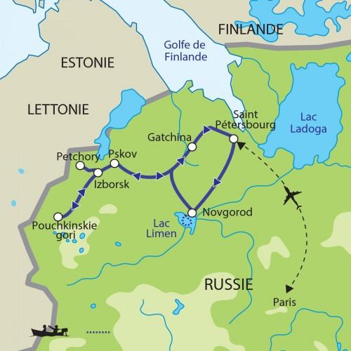 Carte : Russie - Novgorod et Pskov, berceau de la Russie