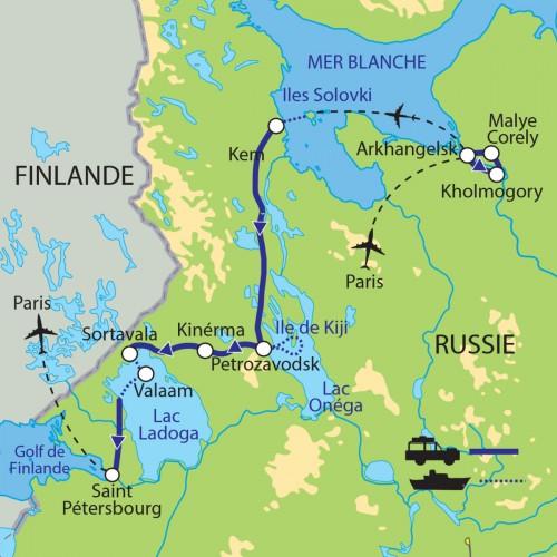 Carte : Russie - Carélie et Solovki, la route du Nord