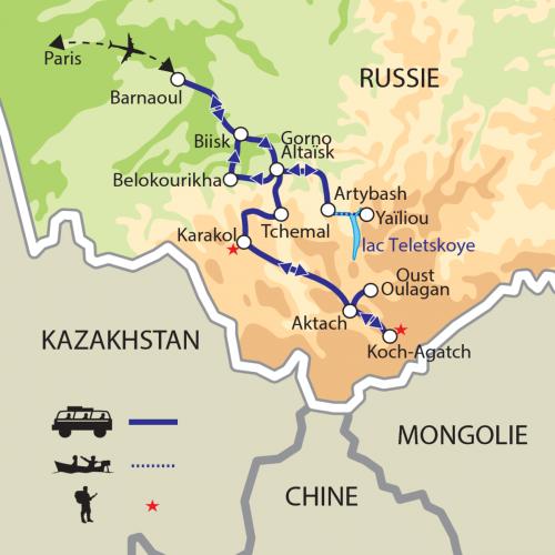 Carte : Russie - Altaï, les montagnes dorées