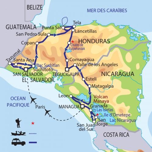 Carte : Honduras Salvador Nicaragua - Au coeur de l'Amérique Centrale