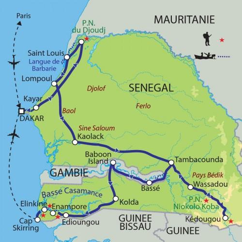 Carte : Sénégal - Sénégal, Casamance, Gambie : la mémoire d'un fleuve