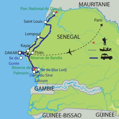 Carte : Sénégal - Au pays de la Teranga
