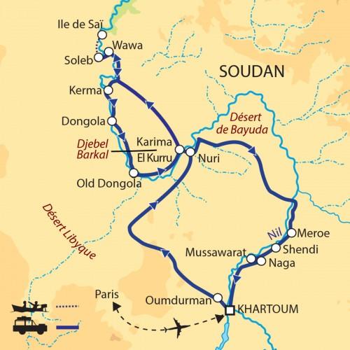 Carte : Soudan - Royaumes antiques et déserts de Nubie