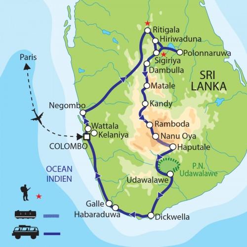 Carte : Sri Lanka - Cités royales et parfums d'épices
