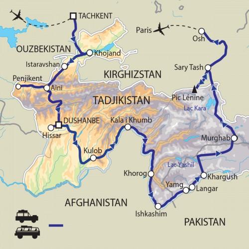 Carte : Tadjikistan - De la Route de la Soie aux Monts Pamir