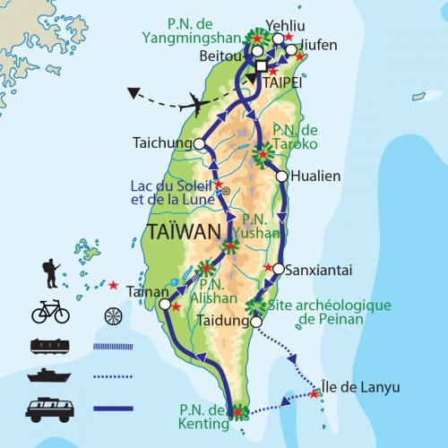 Carte : Taïwan - Le grand tour formosan
