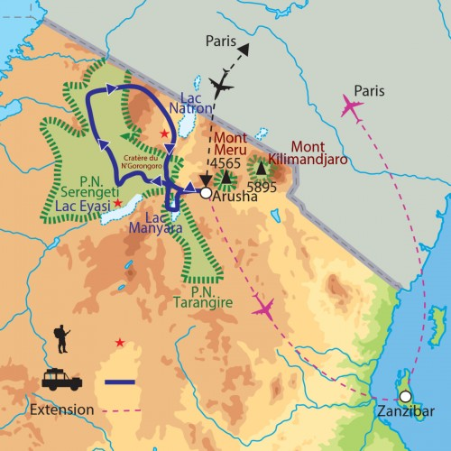 Carte : Tanzanie - Vie sauvage