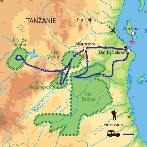Carte : Tanzanie - Sélous, Mikumi, Ruaha des safaris inédits