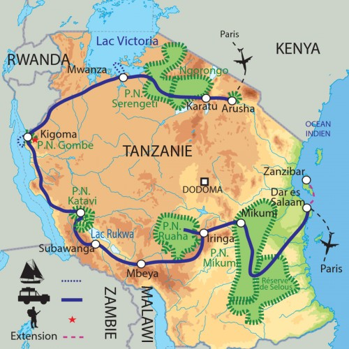 Carte : Tanzanie - La grande traversée de la Tanzanie