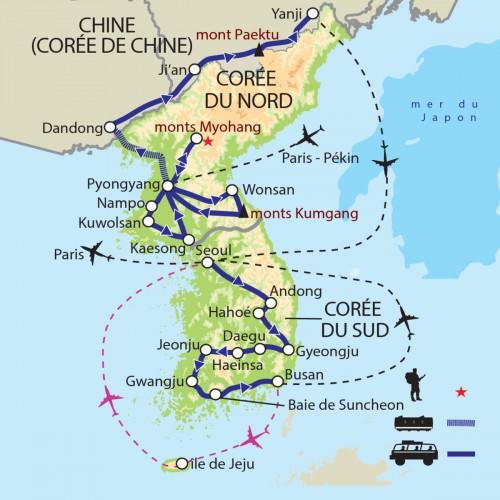 Carte : Corée du Nord Corée du Sud Chine - Regards géopolitiques